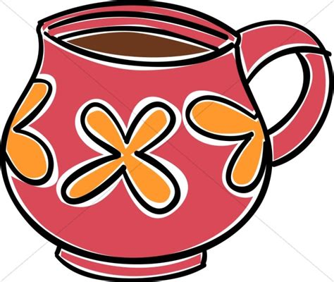 Red and Orange Coffee Mug Clipart | Coffee Hour Clipart