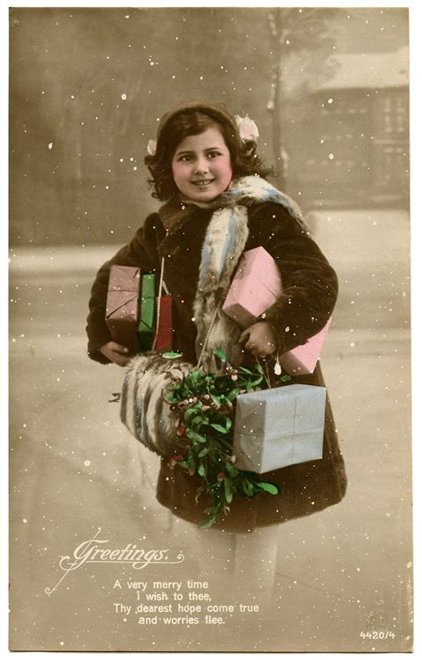 Old Photo - Girl with Mistletoe, Snow and Gifts - The