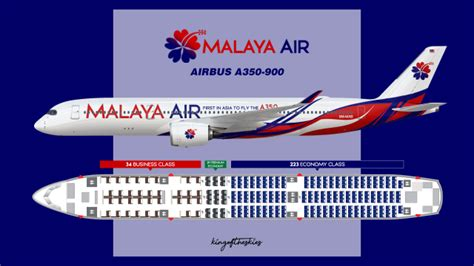 Malaya Air Airbus A350-900 Livery & Seat Map - PRESTIGE by