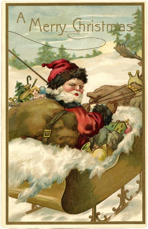 Fantastic Vintage Santa with Sleigh Image! - The Graphics