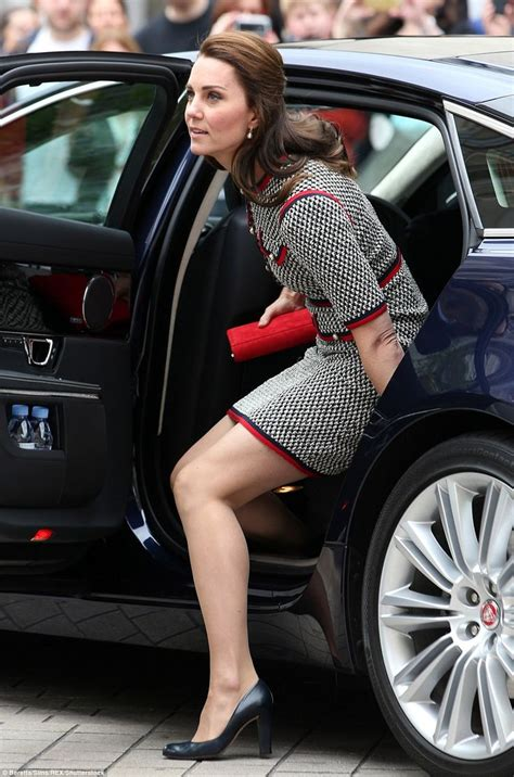 Well practiced! Kate steps out of her car with effortless